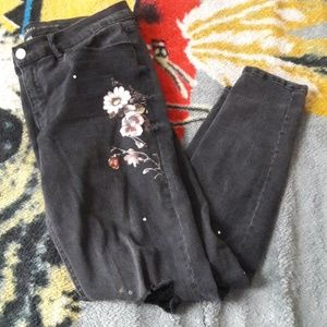 New York & Company Jeans - Flower printed black skinny jeans
